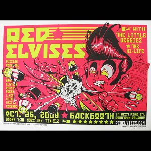 Red Elvises screen printed poster-0