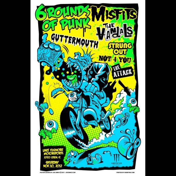 Misfits 6 Rounds Of Punk CA Screen Printed Poster-0