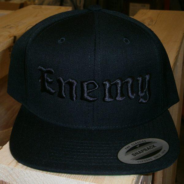 Enemy Black on Black Flat Brim Snapback Hat-0