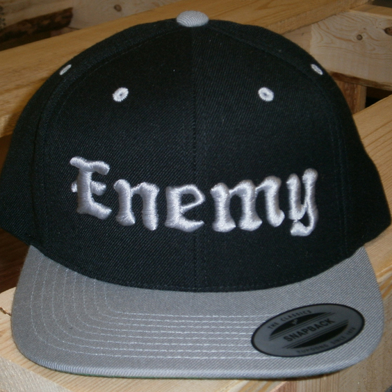 Enemy Grey and Black Flat Brim Snapback Hat-0