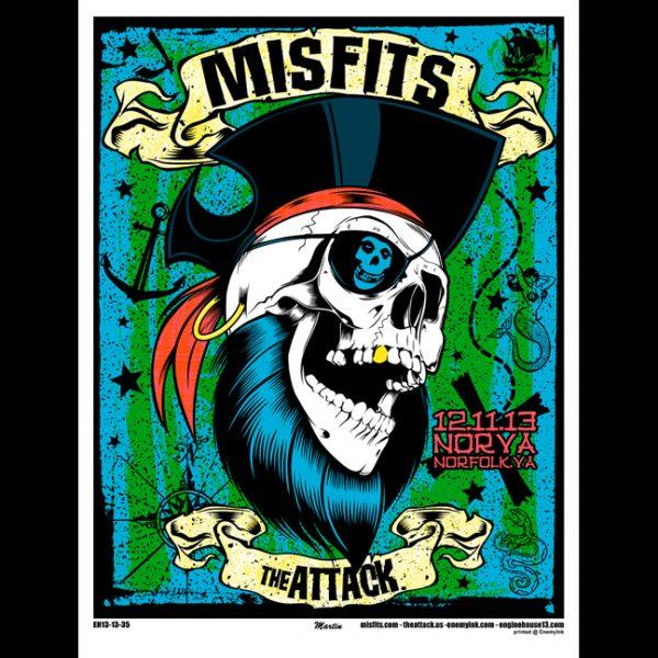 Misfits Norfolk, VA 2013 screen printed poster-0