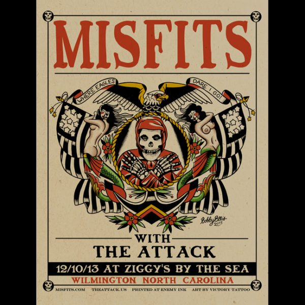 Misfits Wilmington, NC 2013 screen printed poster-0