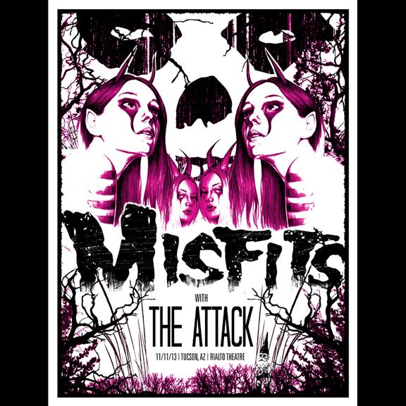 Misfits Tucson, AZ 2013 screen printed poster-0