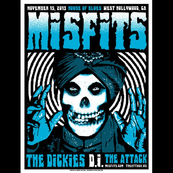 Misfits West Hollywood, CA 2013 screen printed poster-0