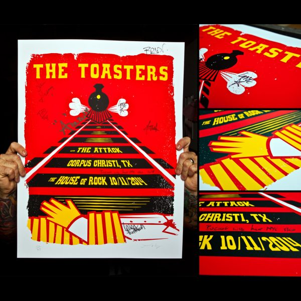 Toasters Screen Printed Poster Corpus Christi 10/11/14-0